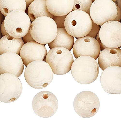 PandaHall Cuentas de madera natural, 50 piezas de 30 mm redondas sin terminar bola de madera espaciadora cuentas sueltas para macramé, guirnalda de granja, decoración, collar, joyería, manualidades