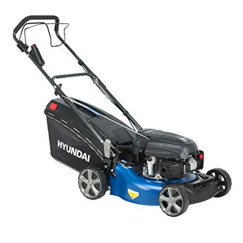 HYUNDAI Benzin-Rasenmäher mit Elektrostart, Benzinmäher mit Radantrieb/Selbst-Antrieb, Mulcher/Mäher mit Mulchfunktion, 46cm Schnittbreite und 3.9 PS Hyundai Motor (LM4603G ES mit E-Start)