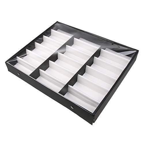 JFCXBSSL Organizador de gafas con 18 rejillas, de madera, color negro, para gafas de sol, caja de almacenamiento