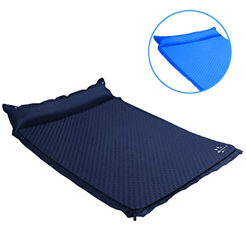 YOUKADA Sleeping pad Double self Inflating Camping pad Large for 2 Person air Mattress with Pillow(Navy Blue, Large)