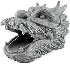 Cornucopia Dragon Garden Downspout Sculpture; Splash Block Anchor for Downspout Extension