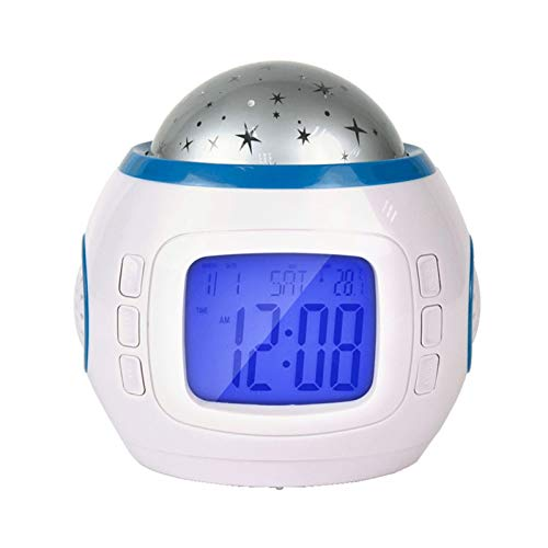 Alarm Clock For Girls,Calendar Thermometer, Music Starry Star Sky Digital Led Projection Projector for Home Office Meditation Relaxing, Light with Nature Sounds and White Noise