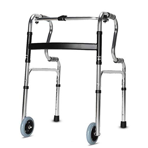 LXDDJZXQ Walker, Andador de Ancianos con Ruedas para discapacitados, Silla de Mimbre, reposabrazos Antiguos, Cuatro Patas, Ligero, Plegable