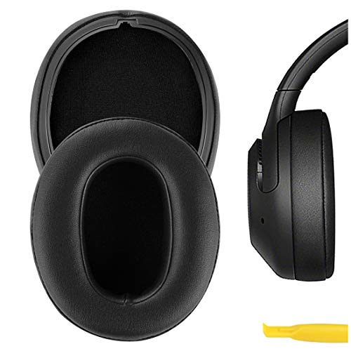 Geekria QuickFit Protein Leather Replacement Ear Pads for Sony WH-XB900N Headphones Earpads, Headset Ear Cushion Repair Parts (Black)