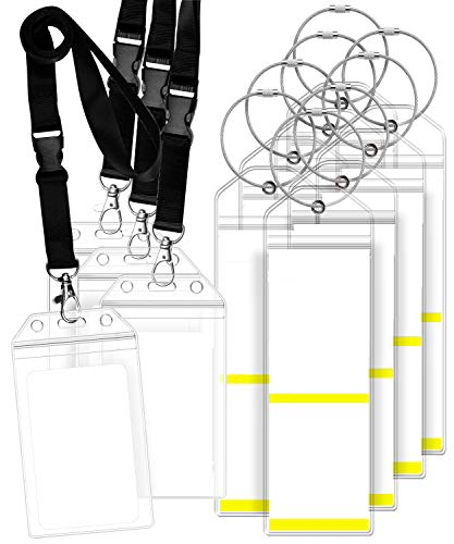 GreatShield Luggage Tag Holders and Resealable Cruise ID Badge Holders with Lanyard, Weatherproof Zip Seal & Steel Loops for Royal Caribbean and Celebrity (8 Luggage Tag Holders, 4 ID Badge Holders)