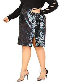 Agnes Orinda Women s Plus Size Skirt Sequin Split Sparkle Pencil Party Skirts Mothers Day 3X Black