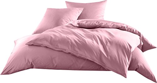 Mako-Satin Baumwollsatin Bettwäsche Uni einfarbig zum Kombinieren (Bettbezug 135 cm x 200 cm, Rosa)