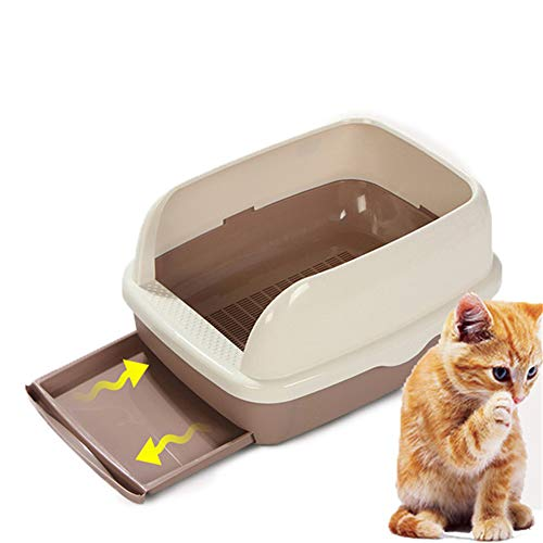 NHY Semi Gesloten Hoge Kat Litter Box Schepellade Toilet Levering Anti-Splash Huisdier Toilette Huis Kunststof Sandbox Hek Afneembare Schone Zand benodigdheden Huisdieren Draagbaar