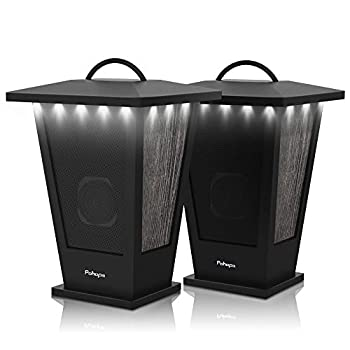 Bluetooth Speakers Waterproof Pohopa 2 Packs True Wireless Stereo Sound 20W Speakers Dual Pairing Lantern Indoor Outdoor Speakers with 20 Piece LED Lights Rich Bass Pinao Black