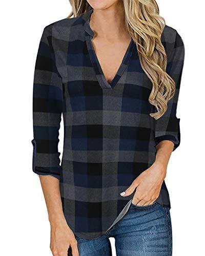 YOINS Camicia Donna Elegante Camicetta Donna Manica Lunga Bluse Camicie a Quadri Blusa Scollo V Casuale Blu Plaid S