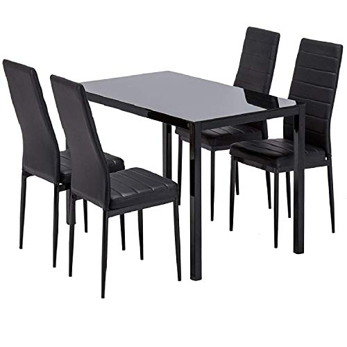 Mecor Kitchen Dining Set Glass Top Table with Leather Chairs Home Breakfast Furniture Black (5 PC)