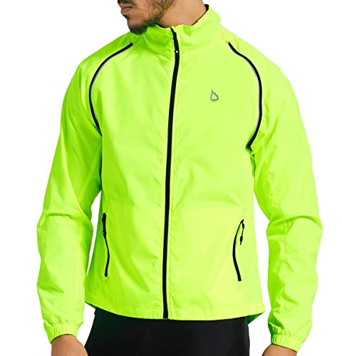 Lipport Mens Cycling Bike Jacket Running Mountain Biking Windbreaker Windproof Breathable Reflective Outdoor Sports Coat