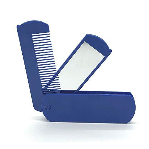 LZWOZ 2 en 1 Pliable Peigne Miroir en Plastique Pliable Barbe Poche Brosse à Cheveux Voyage Peigne Coiffure Maquillage cosmétiques for Le Maquillage des Femmes