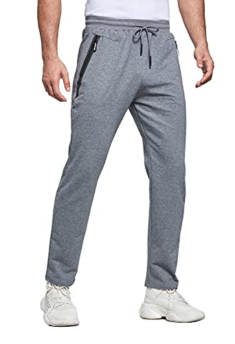 HCSS Jogginghose Herren Lang Fitness Baumwolle Trainingshose Reissverschluss Taschen Sporthose Herren Tunnelzug (Grau-M)