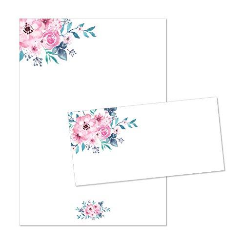 Juego de papel de carta flores-acuarela, rosa   DIN A4 membretes de carta con sobre   vintage papel con estampado  San Valentin boda amor primavera   dv_470
