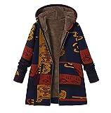 FNKDOR Manteau à Capuche Femmes Grande Taille Hiver Chaud Veste en Coton Lâche Poches Rétro Fleurs Impression Plus épais Hasp Outwear Pas Cher(I Bleu,XL=FR(50))