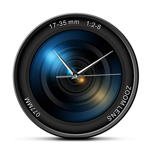 HIDFQY Wanduhr-Farbfoto ISO-Belichtungsschnappschuss Selfie des Kameraobjektivs 3D modernes dekoratives Wanduhr-Fotogeschenk