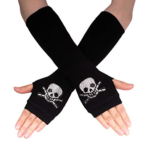 Flammi Women's Knit Arm Warmers with Thumb Hole Warm Fingerless Gloves Mittens for Halloween Party Daily Wear (Skull with Crossbone B)