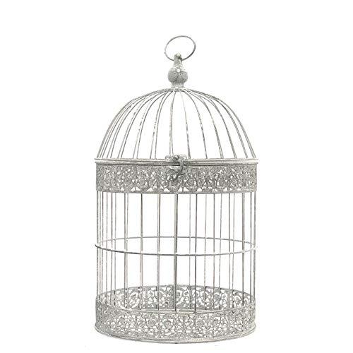 L'ORIGINALE DECO Grande Cage Oiseaux Bougie Ronde Gris Blanc Chie 62cm x ø35 cm