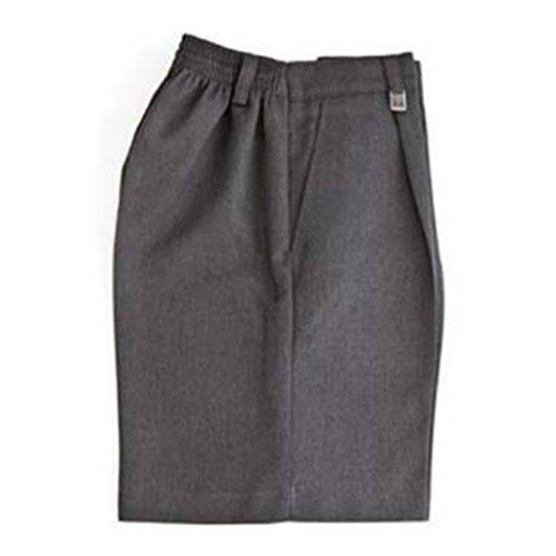 Zeco sold by Essential Wear -Pantalones elásticos cortos de uniforme gris gris