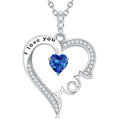 Birthday Gifts for Mother Blue Sapphire Necklace I Love You Mom Jewelry Sterling Silver Love Heart Pendant Necklace