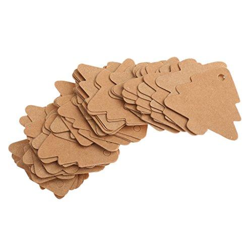 Weihnachtsbaum Form Geschenk Anhänger Papieranhänger Hängeetiketten Anhängeetiketten Tags Labels 50Stück Etiketten Schilder Papieretiketten