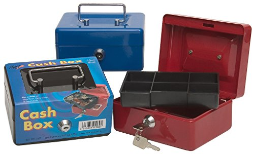 15cm Heavy Duty Metal Cash Tin Lockable Petty Money, Coin And Note Security Box