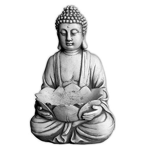 Massiver Stein Buddha mit Schale Mönch Gartendeko Raumdeko Steinguss frostfest
