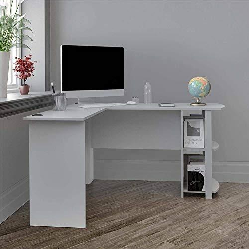 Escritorio de Ordenador de Esquina en Forma de L con Estante de Libros, Mesa de Ordenador Moderno para hogar Oficina Sala de Estudio Robusto y Duradero(Blanco)