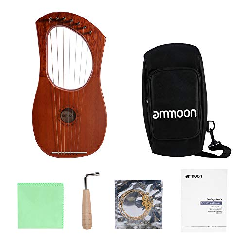 Harfe, ammoon Lyra 7 Saiten Harfe, Stahldraht Saiten Mahagoni Sperrholz Körper Mahagoni mit Tragetasche und Stimmschlüssel