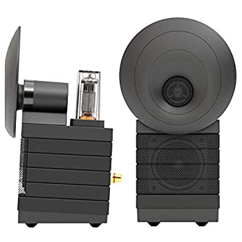 HumanCentric Desktop Speakers with Tube Preamp and Bluetooth 5.0   for Computers PCs Laptops or Phones   External Sound System Monitors or Computer Speakers for Home Office or Gaming Desk  Black