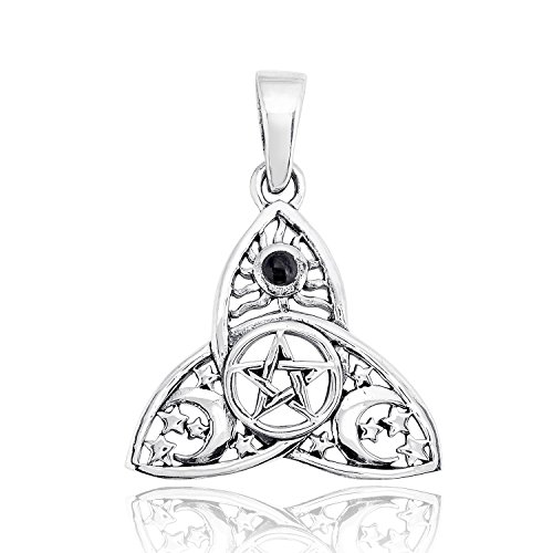 WithLoveSilver 925 Sterling Silver Celtic Trinity Knot Triquetra Enamel Sun Moon Stars Pentacle Pendant