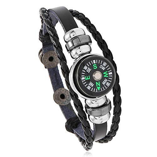 Snap Button Leather Bracelet Multilayer Woven Outdoor Compass Bracelet Couple Small Commodity Jewelry-Black