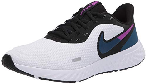 Nike Women's Revolution 5 Running Shoe, White/Valerian Blue-Black-Vivid Purple, 8 Regular US