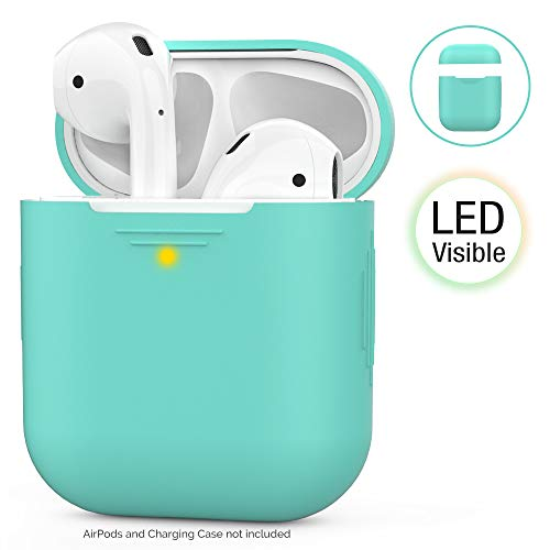 AhaStyle AirPods Case Cover Silicone [Front LED Visible & Supports Wireless Charging] Compatible with Apple Airpods 2&1(2019) (Without Hook, Green)