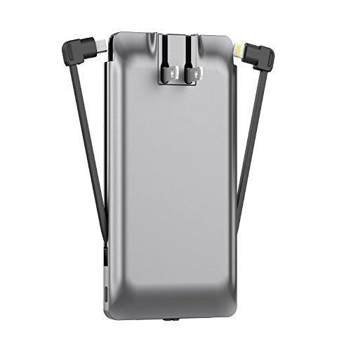 PhoneSuit | Apple Charger & Power Bank | All-in-One Portable Charger | Cell Phone Battery Backup | Built-in Wall Plug AC Adapter, Lightning & Micro USB Cables | USB Ports | 5600 mAh | iPhone, Samsung