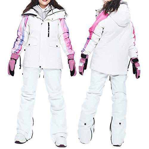 KLGZ Combinaison de Ski Chaude pour Dames, Ensemble Manteau et Veste de Snowboard imperméables et Coupe-Vent B White-XL