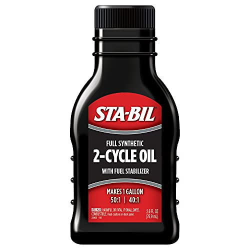 STA-BIL Full Synthetic 2-Cycle Oil - With Fuel Stabilizer For Up To 12 Months Protection - Ethanol Protection - 5 Gallon Multi-Mix - 50:1/40:1 Mix Ratios - Low Smoke Formula, 2.6 fl. oz. (22403)