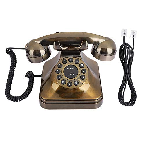 Ymiko WX-3011# Teléfono de Bronce Antiguo Teléfono Fijo An