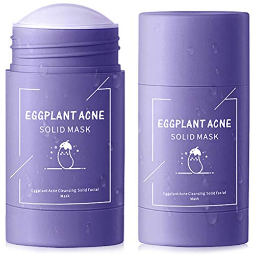 CZSMART Green Tea Purifying Clay Face Mask Stick Oil Control Anti-Acne Aubergine Fine Solid, Blackhead Remover Acne Cleansing Solid Face Mask Pores Shrink 2 Pack
