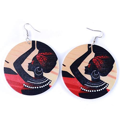 Kaned Runde Holzohrringe Afrikanische Frauen, die leichte antike Tropfenohrringe drucken,Randlos