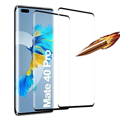 Für Huawei Mate 40 Pro Panzerglasfolie 2 Stück, 9H Festigkeit Bildschirmschutzfolie, Blasenfrei Kratzfest Schutzfolie Panzerglas, HD Vollbildanzeige (Transparent)
