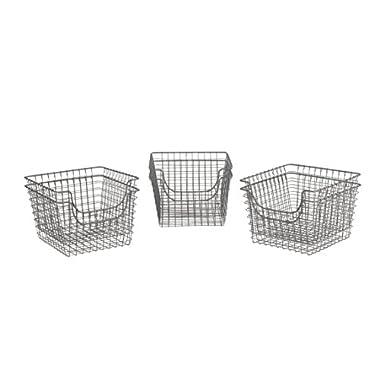 Spectrum Diversified Scoop Wire Storage Basket, Medium, Industrial Gray, 6-Pack
