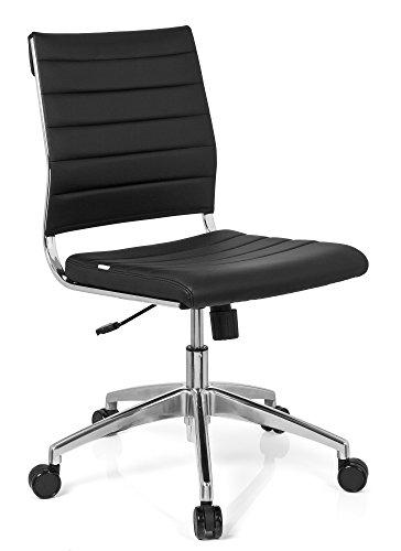 hjh OFFICE 720002 chaise de bureau, chaise bureau à roulettes TRISHA noir en simili-cuir, siège pivotant sans accoudoirs, structure robuste en métal chromé, réglable en hauteur, design moderne et élégant