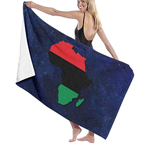 URANDM USA Black Power Pan-African Microfiber Beach Towel (52 X 32) -Highly Absorbent, Quick Dry Lightweight Towels Blanket for Sports Travel Pool Swimming Beach Gym Bath