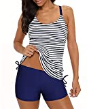Yonique Blue Strappy Tankini Swimsuits for Women with Shorts Striped Drawstring Bathing Suits Two Piece Swimwear S