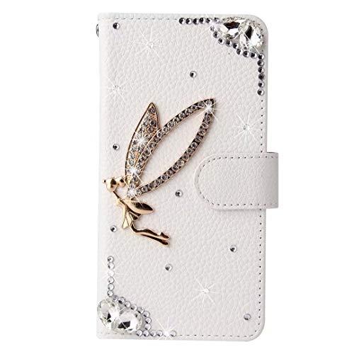 Huawei P30 Lite Hülle 3D Handmade Gems Crystal Glitter Pflaume Love Girly Wallet Handyhülle Stoßfest PU Leder Stand Magnetic Flip Notebook Schutzhülle für Huawei P30 Lite Angel