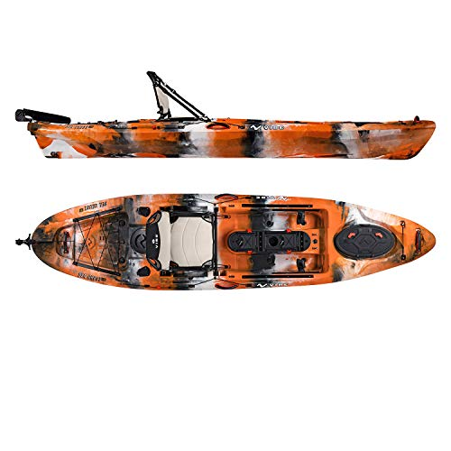Vibe Kayaks Sea Ghost 110 11 Foot Angler Sit On Top Fishing Kayak with Adjustable Hero Comfort Seat & Transducer Port + Rod Holders + Storage + Rudder System Included (Orange Camo)