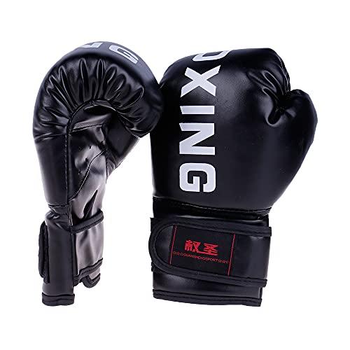 Blendx 1 Paar Boxhandschuhe PU Leder Coachinghandschuhe Punchinghandschuhe mit Klettgehäuse für Kinder 2 Farben|Schwarz