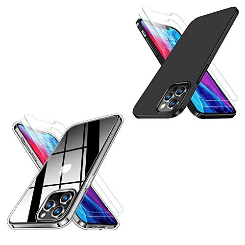 RANVOO Crystal Clear Designed for iPhone 12 Pro Max Case with 2 Screen Protector & Ultra Thin Slim iPhone 12 Pro Max Case Black, 6.7 inch